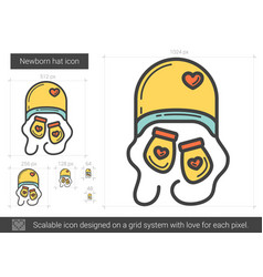 Newborn hat line icon vector