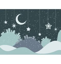 Night winter city vector