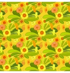 Orange yellow primroses pattern vector