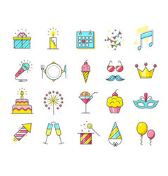 Party icons celebration vector