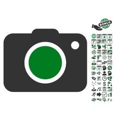 Photo Camera Icon With Bonus vector image vector image