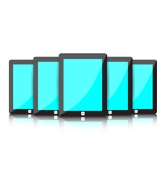 Set of digital tablets with blue blank screen vector image