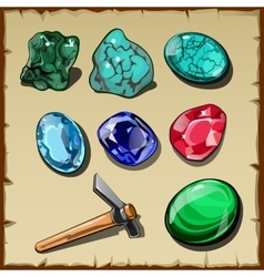 Set of seven types of raw gemstones and kirk vector image