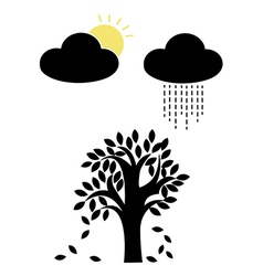Sun and rain with tree vector