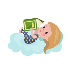 sweet little girl lying on a cloud and reading vector image