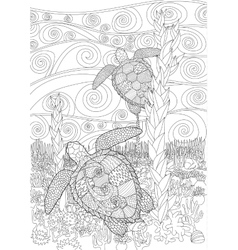 Swimming turtle for anti stress coloring vector