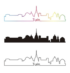 Turin skyline linear style with rainbow vector image vector image