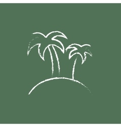 Two palm trees on an island icon drawn in chalk vector