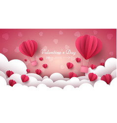 valentine s day air balloon heart vector image vector image