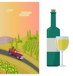 Wine production banner poster for white vine vector