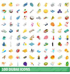 100 dubai icons set isometric 3d style vector image