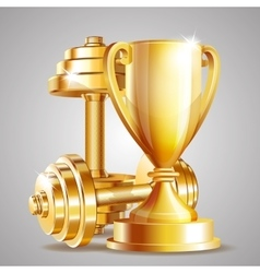 Gold cup with golden realistic dumbbells vector
