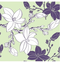 Floral seamless pattern with drawing magnolia vector image