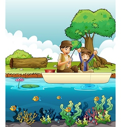 Two men fishing vector image