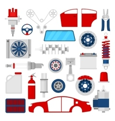 Car parts set auto service repair icons vector