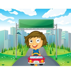 A girl in her car below an empty signage vector