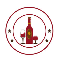 Circular emblem with wine bottle and wine glasses vector