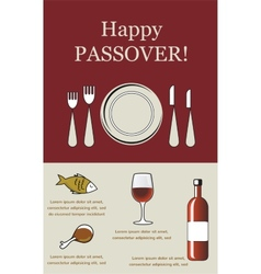 Happy passover- seder pesach with holiday elements vector