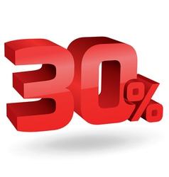 30 percent digits vector image vector image