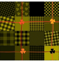 Patchwork with shamrocks vector