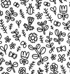 Summer flowers butterflies and beetles black vector
