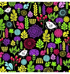 Romantic seamless pattern with cute flowers and vector