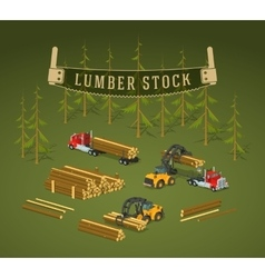 Lumber stock logs loading on trucks vector
