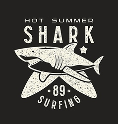 Graphic design for t shirt with the image of shark vector image