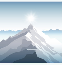 A sunset or dawn sun over the mountains landscape vector