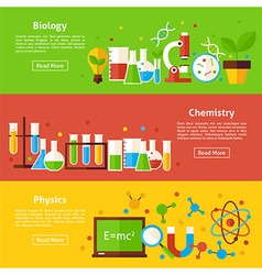 Biology Chemistry Physics Science Flat Horizontal vector image vector image