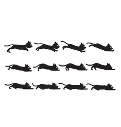 Black cat sliding sprite vector