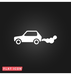 Car emits carbon dioxide vector