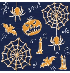 Chalkboard halloween seamless pattern vector