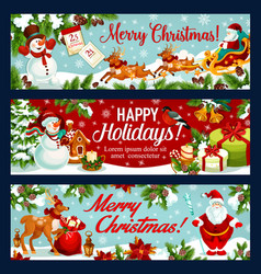 Christmas festive banner of santa sleigh with gift vector