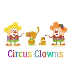 Circus clowns with trained animals vector