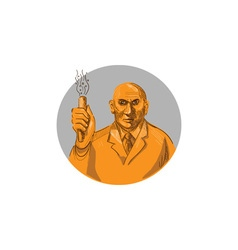 Crazy scientist holding test tube circle drawing vector