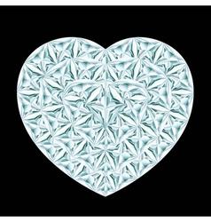 Diamond heart on black background vector
