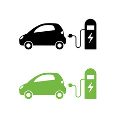 electric car and electrical charging station icon vector image