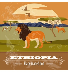 Ethiopia landmarks retro styled image vector