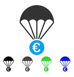 Euro parachute flat icon vector