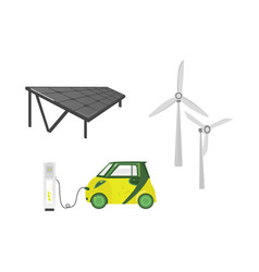 Flat electric car charging solar station vector