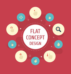 Flat icons zoom out nudge sensory and other vector