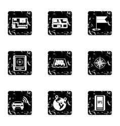 Gps icons set grunge style vector