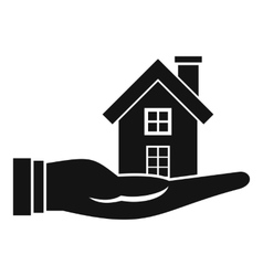 House in hand icon simple style vector