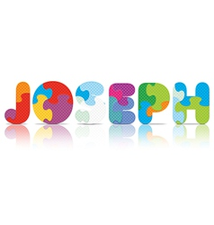 Joseph written with alphabet puzzle vector