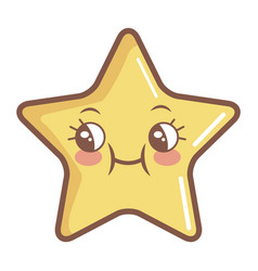 kawaii star funny cartoon character icon vector image vector image