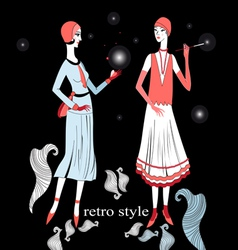 retro girl on a black background vector image vector image