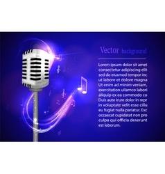 Retro microphone on bright neon background vector