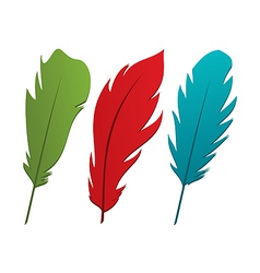 Set colorful feathers vector image