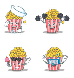 Set of popcorn character with sailor fitness ice vector